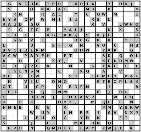 picture about Mega Sudoku Printable known as Alphadoku graphic instance, 25X25 sudoku puzzle, symmetric