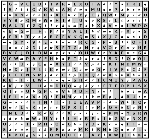 picture about Mega Sudoku Printable identified as Alphadoku picture illustration, 25X25 sudoku puzzle, symmetric