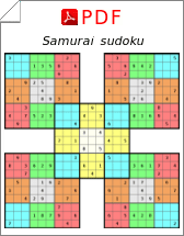 picture relating to Printable Sudoku Pdf called Samurai sudoku puzzles PDF in direction of down load