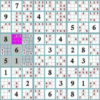 Highlighted candidates method by exclusion in a region of a sudoku grid.