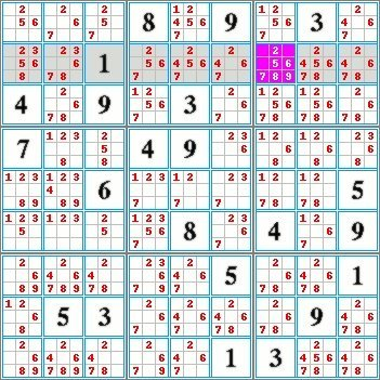 Highlighted candidates method by exclusion in a row of a sudoku grid.